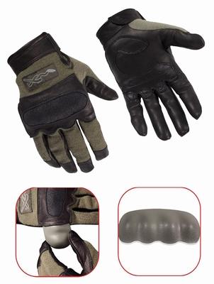 HYBRID Flame Resistant removable nuckle gloves, green