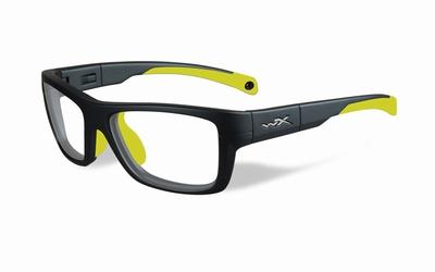 Wiley X stevige kinder sportbril - CRUSH, mat grijs/geel