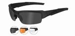 WileyX zonnebril - VALOR, 3 lenzen / matte blk frame